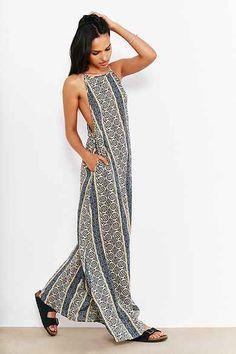 Band Of Gypsies Boho-Print Maxi Slip Dress
