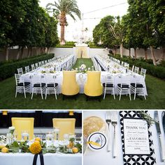 One big table for everyone headed by his & hers chairs love the idea