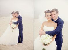 Bride and Groom Beach Wedding Portrait - Turquoise and White Themed Beach Ceremony - Beach Weddings at The Sunset - Malibu, California - Photography: www.sunburstphoto.com