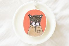 Wooden Necklace Oval  Hand Painted Illustration by MillyMilkVille, $11.20