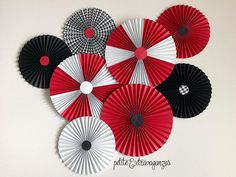 Paper Rosettes/ Fans - Red, Black, White  Mickey Mouse Party Decorations Red, black, and white party decorations  Graduation party decorations