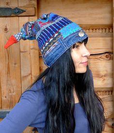 Crazy patchwork denim recycled sweaters beanie hat by jamfashion