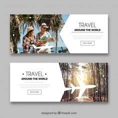 Travel banners with photography Free Vec. Travel Brochure, Brochure Design, Best Banner Design, Billboard Design, Facebook Banner, Social Media Banner, Banner Printing, Travel Design, Advertising Design