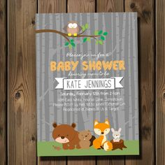 woodland animal baby shower invitation custom for by