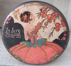 La Lete Parfumers Art Deco Talcum Powder Tin With Original Puff - 1930's by VintageWantsNotNeeds on Etsy https://www.etsy.com/listing/245520834/la-lete-parfumers-art-deco-talcum-powder