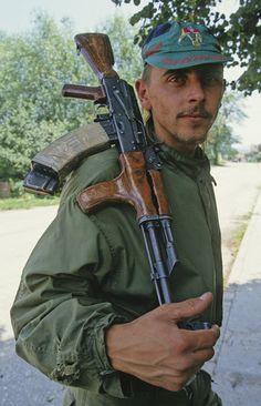 Bosnian soldier with Romanian Ak. Warsaw Pact, Combat Gear, War Image, Ak 47, War Photography, Apocalypse Survival, Central Europe, Modern Warfare, Bosnia