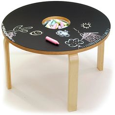 Woody Chalkboard Table - What's better than a table designed just for kids? One they can draw on! The Woody Chalkboard Table is exactly that, offering both a work surface and . Chalkboard Table, Chalkboard Paint, Chalk Paint, Magnetic Chalkboard, Black Chalkboard, Diy For Kids, Cool Kids, Tables Tableaux, Ikea Table