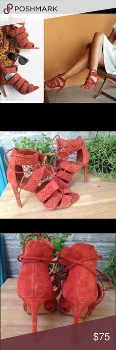 ZARA lace up heel braided pump stiletto suede red ZARA blogger favorite lace up braided suede heels Worn lightly wear is only on soles. Photos true to life  Sz 7.5 / eur 38   Heel height 4.25 Zara Shoes Heels
