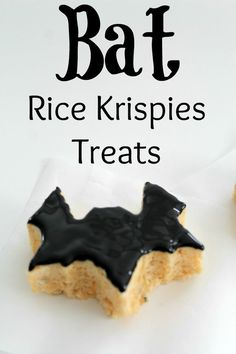 Rice Krispies Treats Bats for Halloween  {idea recipe party desserts family snack bars halloween food crafts}
