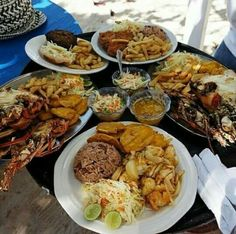 Haitian Meals are quite large. They contain lots of rice, and often have seafood as a source of protein. The other widely consumed source of protein is chicken.