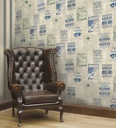 Iffley Programme Wallpaper from University of Oxford Archives by Brewster. Priced by single roll and packaged double. Cambridge Program, Beige Background, Glass Collection, Man Cave, Armchair, Oxford, Wallpaper, Furniture, Design
