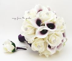 Purple White Real Touch Bridal Bouquet Picasso Calla Lilies Roses and Rhinestones - White Plum Purple & Groom's Boutonniere