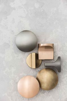 Mat finish metal for modern look - Natural Elements Range of Bathroom Finishes by Rogerseller. Material Board, Gold Material, Bronze, Bathroom Inspiration, Color Inspiration, Home Accessories, Color Schemes, Door Handles, It Is Finished