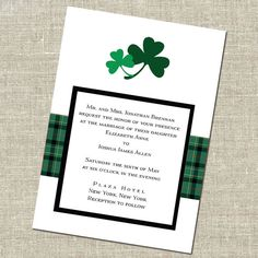 Double Shamrock Irish Wedding Invitation