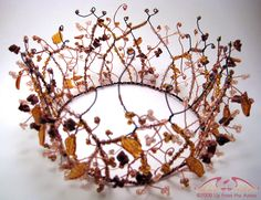 Crown for the Autumn Queen    brown and copper artistic wire hand assembled with glass leaves, brown goldstone chips and glass E beads to make a supremely gorgeous head piece