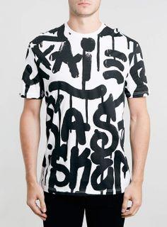 WHITE GRAFITTI PRINT T-SHIRT - Men's Tees & Vests - Clothing - TOPMAN EUROPE