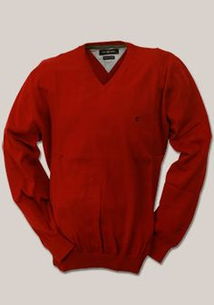 CASAMODA Pullover Langarm V-Ausschnitt Uni Baumwolle mrot 004130/41