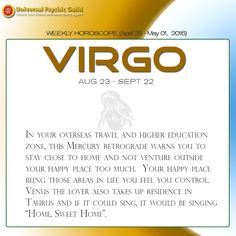 #WeeklyHoroscopes #VIRGO: Your ruler, Mercury the planet of words and planning is setting off on his 2nd retrograde go round this week. There are 4 Mercury retrogrades this year and the first one was in Capricorn in January. Now, this one is in Taurus in late April/May. So you earthlings are really feeling the Mercury retrograde crunch.