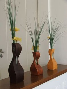 Home Decoration Ideas and Design Architecture. DIY and Crafts for your home renovation projects. Small Woodworking Projects, Woodworking Wood, Wood Projects, Wood Vase, Wood Planters, Flower Boxes, Bud Vases, Wood Design, Wood Turning