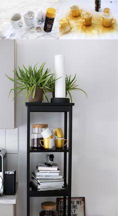 DIY Tassen Goldspray, Küchen Dekoration, Pimp my Kitchen, Küche verschönern, Küchen Hacks, Do It Yourself, Interior Blog, Magazin,…