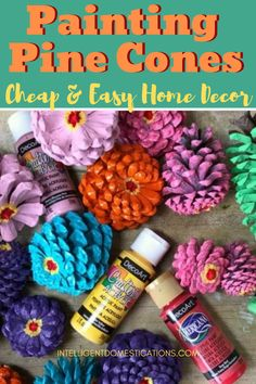 Make you own cheap and easy yet beautiful home decor by painting pine cones for any season pinecones homedecor intellid # Pinecone Crafts Kids, Pine Cone Crafts, Fall Crafts, Christmas Crafts, Christmas Trees, Acorn Crafts, Father Christmas, Christmas Christmas, Wood Crafts