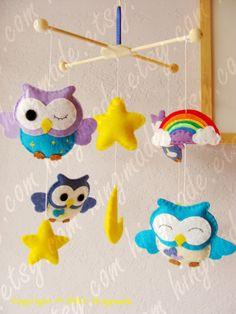 Baby Mobile - Owl Mobile - Nursery Mobile - Decorative Nursery Mobile - Lavender Purple