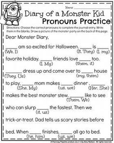 First Grade Halloween Worksheets - Diary of Monster Kid Pronouns Practice. Pronoun Activities, Pronoun Worksheets, English Grammar Worksheets, First Grade Worksheets, Grammar Lessons, Kindergarten Worksheets, Teaching Pronouns, Super Worksheets, 2nd Grade Activities