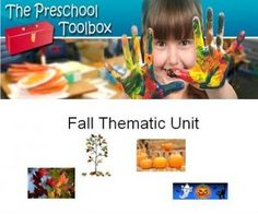 Fall Thematic Unit for Preschool (and Kindergarten) - 100+ suggestions for math, science, literacy, songs/fingerplays, arts/crafts, gross motor, and sensory. The theme is a 3 in 1 that includes: Trees and Leaves, Pumpkins, and Non-Scary Halloween.