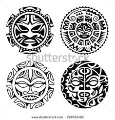 stock-vector-set-of-polynesian-tattoo-styled-masks-vector-illustration-299732492.jpg (450×470)