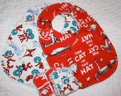 Bib  Dr Seuss  Cat in the Hat  Bamboo Bib Gift Set by madebymum1, £20.00