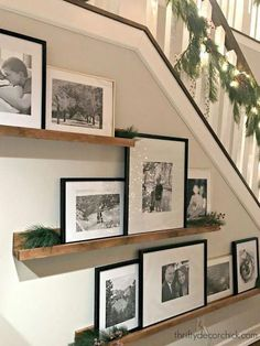 51 Unusual picture frame wall decor ideas on a budget - Nice . - 51 Unusual photo frame wall decorating ideas on a budget – Nice 51 Unusual photo frame wall decor - Picture Shelves, Picture On Wood, Gallery Wall Shelves, Stairway Gallery Wall, Nice Picture, Book Shelves, Gallery Walls, Frame Wall Decor, Frames On Wall