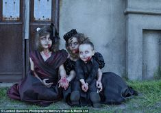 Freaky family portrait: The photographer works with make-up artists to create the elaborate and creepy scenes