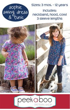 Sophie Swing Dress & Tunic - Peek-a-Boo Pattern Shop [Aff Link]  The Sophie includes the following options:  Dress and Tunic length Short, 3/4 and Long Sleeves Neckband, Hood and Cowl