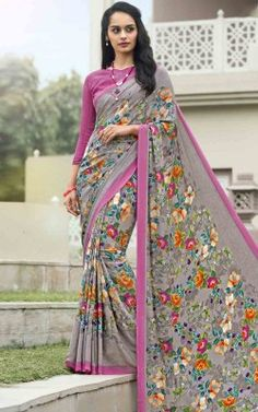 999bbb24dffb41 Style and pattern will be at the peak of your splendor once you dresses  this Slate Grey Crepe Silk Saree. The attractive Printed work through the  attire is ...