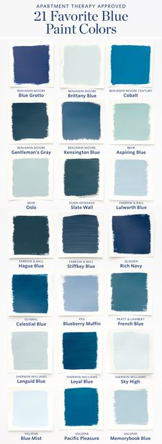 Color Cheat Sheet: The 21 Most Perfect Blue Paint Colors For Your Home — The M. Color Cheat Sheet: The 21 Most Perfect Blue Paint Colors For Your Home — The Modern Palette Best Blue Paint Colors, Paint Colors For Home, House Colors, Color Blue, Blue Wall Colors, Modern Paint Colors, Bathroom Colors Blue, Blue Room Decor, Valspar Paint Colors