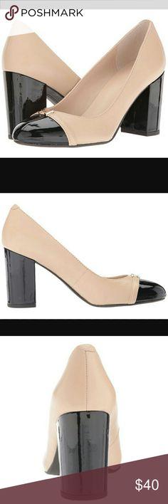 Tommy Hilfiger heels NWB Tommy Hilfiger Elena leather latte amd black block heels. Has almond cap toe with cushioned footbed. 3 1/4 heel Tommy Hilfiger Shoes Heels