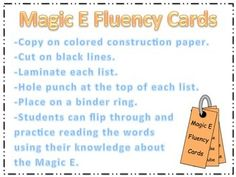 Students can practice reading CVCe words using the magic e strategy. These cards are easy for students to use when practicing alone or with a partner. It is a simple way for early finishers to fill their extra time with valuable practice. It is also an easy way to promote peer help for students who struggle to master CVCe words.