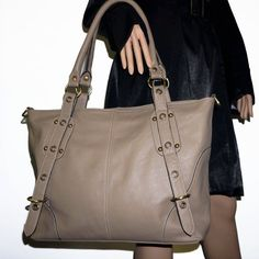 Taupe leather tote bag leather handbag  leather by chicleather, $160.00