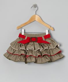 Loving this Khaki & Red Ruffle Belted Skirt - Infant, Toddler & Girls on #zulily! #zulilyfinds