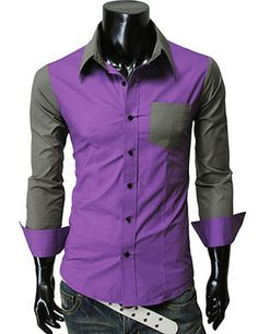(KST-PURPLE) Mens casual 2 Tone Pocket Point Dress Shirts