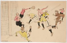 Funny drawing by an unknown artist with ink and watercolor on paper - ca For more details see the description on our website! Sports Drawings, Funny Drawings, Online Art, 1920s, Goal, Original Art, Soccer, Watercolor, Ink