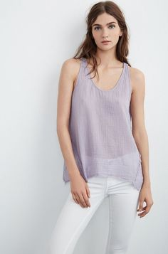 VELVET By Graham & Spencer Talona Cotton Gauze Raw Edge Tank Top Lavender S $99 #VelvetbyGrahamSpencer #TankCami #Casual