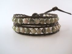 Peace Jade Beaded Leather Wrap Bracelet Chan Luu Boho by PZWDesign, $25.00