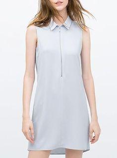 Women's Sleeveless Tunic Dress - Light Blue / Peter Pan Collar