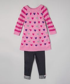 Look at this Pink Heart Sweater & Denim Leggings - Girls on #zulily today!