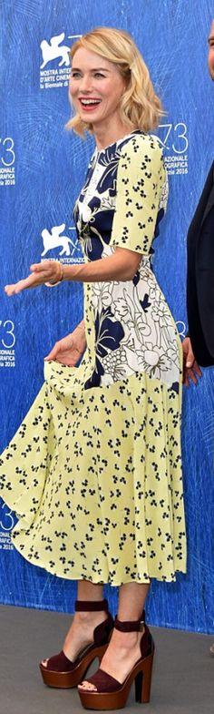 Who made  Naomi Watts' yellow print dress, platform red sandals, and handbag?