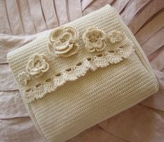 RESERVED Crocheted Clutch Champange Bouquet Wedding by Monicaj