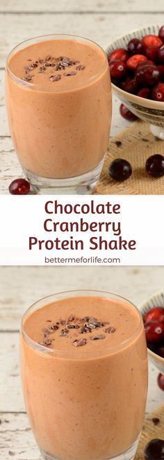 This delicious chocolate cranberry protein shake is packed with antioxidant and anti-inflammatory benefits. Make yourself one today! Find the recipe on BetterMeforLife.com   protein shake recipes   protein shakes   healthy protein shakes   protein shakes for weight loss   protein shake recipes weight loss   protein shake recipes diet #proteinshakes #proteinshakerecipes #proteinpowder #proteinshake #protein_shake