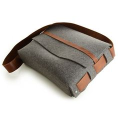 Felt and leather satchel - neutral gray that matches everything.  The perfect size for a laptop or a handful of books!