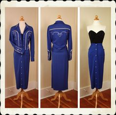 RARE 1950's Style 2 Piece Cowgirl Royal Blue Rayon Gabardine Embroidered Western Outfit by Rodeo Ranchwear - Jacket & Pencil Skirt - Size M. $395.00, via Etsy.